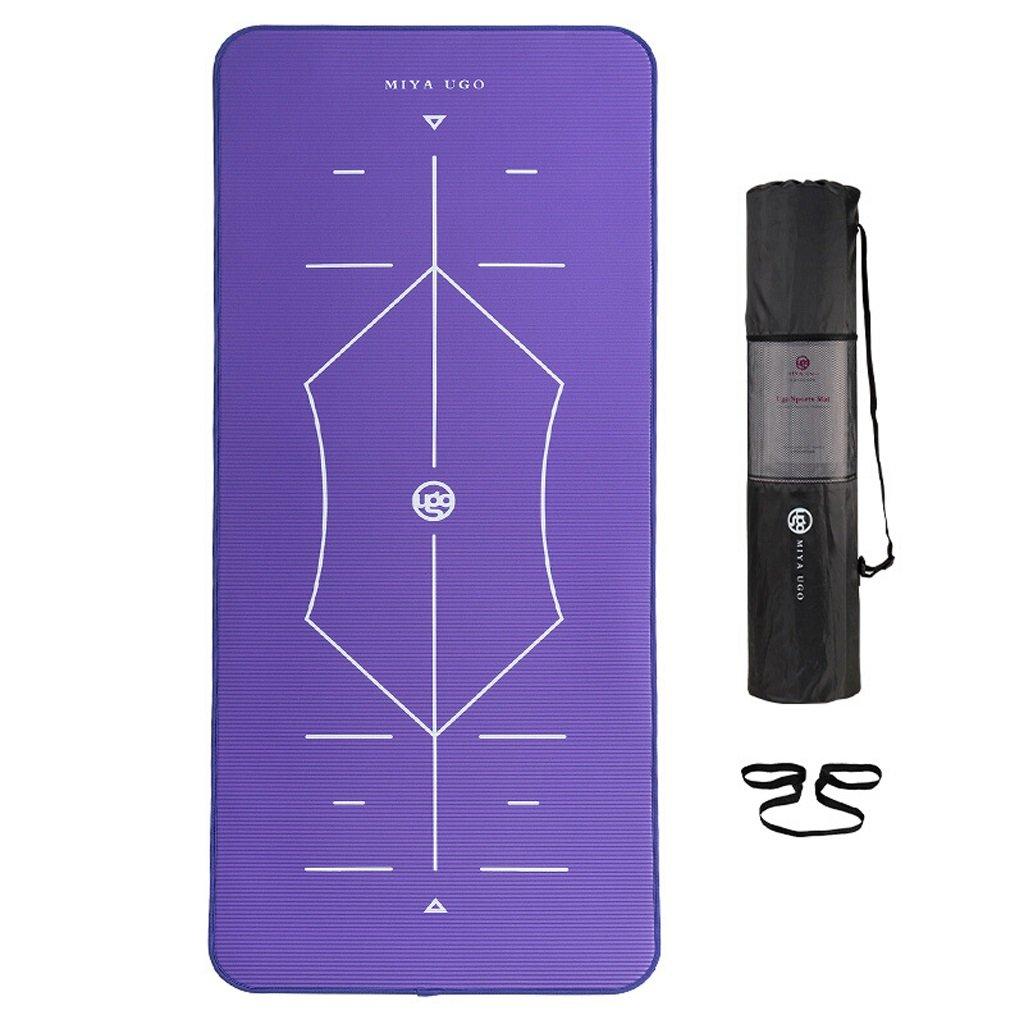 LILY NBRボディラインエッディングヨガマット、伸ばして広げた多機能フィットネスマット、185×80cm、10MM(ストラップ、ネットバッグを含む) (Color : Gray) B07C1Q9P2M Purple Purple