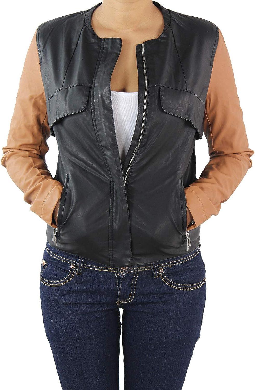 Damen Lederjacke Kunstlederjacke Biker Look Leder Jacke Damenjacke Jacket College Bikerjacke Lederoptik viele Farben Gr S 4XL