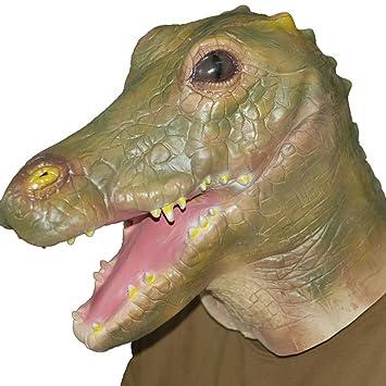 Jitong Halloween Animal Látex Cabeza Máscara Novedad Disfraces para Navidad Fiesta, Cosplay (Cocodrilo)