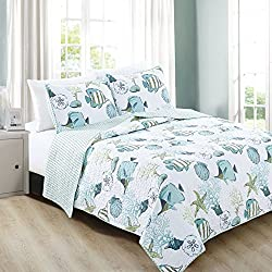 Home Fashion Designs 3-Piece Coastal Beach Theme Quilt Set with Shams. Soft All-Season Luxury Microfiber Reversible Bedspread and Coverlet. Seaside Collection By Brand. (King, Multi)