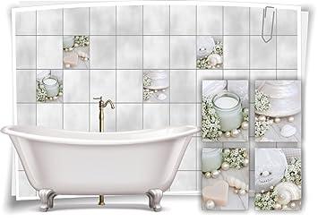 Medianlux Fliesenaufkleber Fliesenbild Kerze Creme Wellness Spa Aufkleber Fliesen  Bad Deko WC Badezimmer Muscheln, 15x20cm