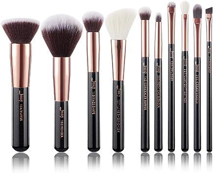 Jessup T15 Kit de 10 brochas de maquillaje para base de maquillaje, delineador de ojos y corrector, hechas a mano, color negro y oro rosa: Amazon.es: Belleza