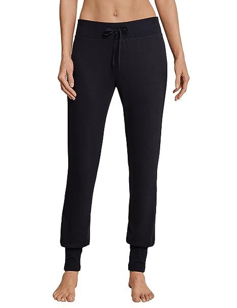 Schiesser Mix & Relax Lounge Jerseyhose Lang, Pantalones de Pijama para Mujer, Negro (