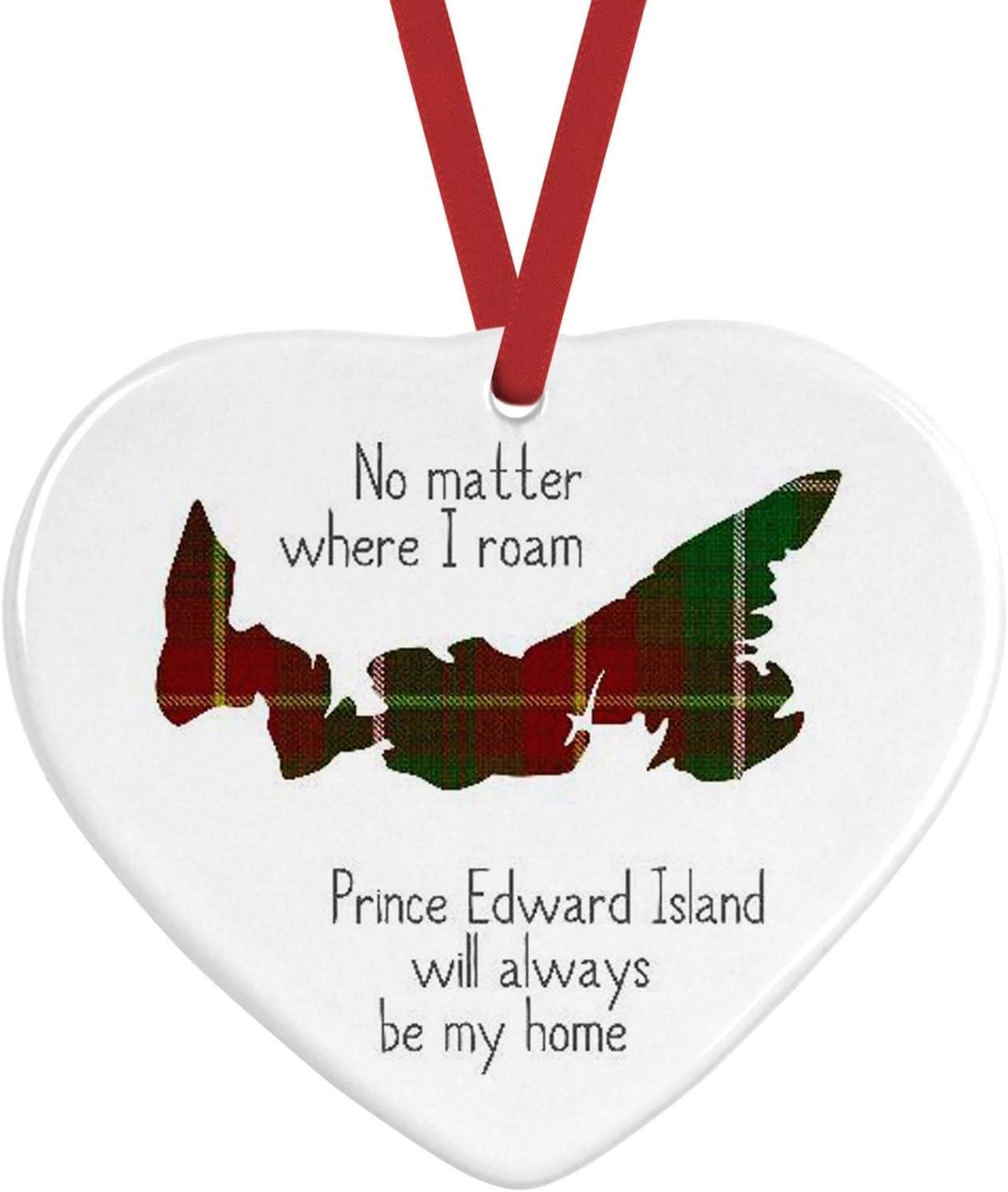 Prince Edward Island -no Matter Where I Roam Tartan Ceramic Christmas Ornament Heart Shaped Province Canada Tartan,Canadian,East Coast, Custom Ornament