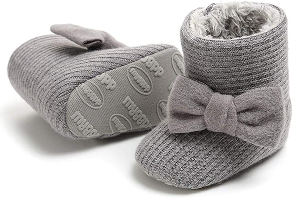 LAFEGEN Baby Boys Girls Boots Non Slip Faux Fur Infant Ankle Snow Booties Newborn Toddler First Walker Warm Winter Crib Shoes 3-18 Months
