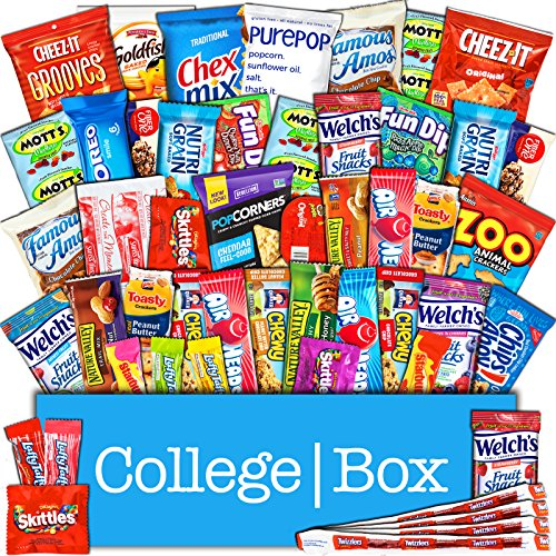 CollegeBox – Bulk Snacks Care Package (50 Count) for College Students - Variety Assortment Gift Box with Treats for Studying and Dorm Rooms – Chips, Cookies, Candy and More by CollegeBox