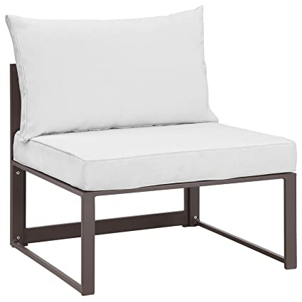 Modway Fortuna Aluminum Outdoor Patio Armless Chair in Brown White  sc 1 st  Amazon.com & Amazon.com: Modway Fortuna Aluminum Outdoor Patio Armless Chair in ...