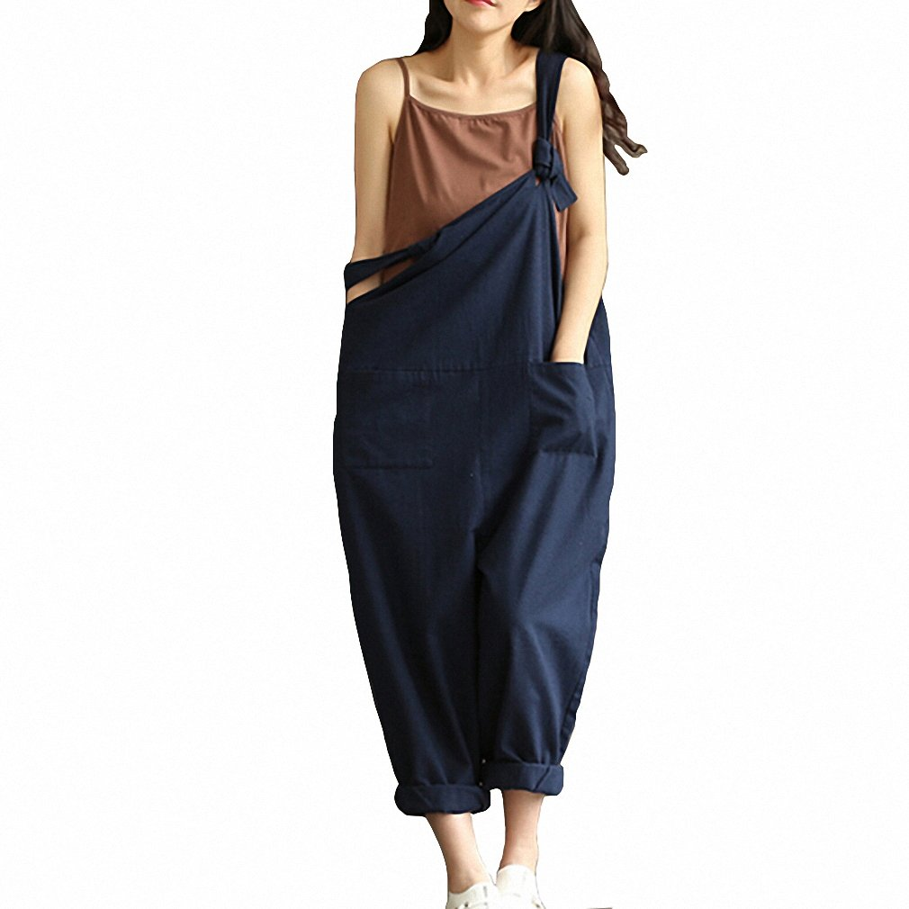 Amazon.com: Navy Blue Sexy Overalls Women Large Size Jumpsuit Clothes Rompers Summer Autumn New Cotton Linen Wide Leg Pants Y126: Clothing