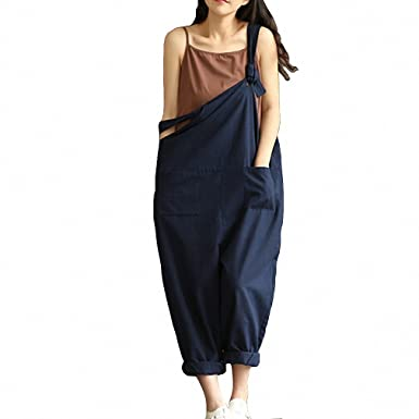 Navy Blue Sexy Overalls Women Large Size Jumpsuit Clothes Rompers Summer Autumn New Cotton Linen Wide