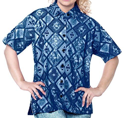Cotton Point Collar Blouse (La Leela 100% Cotton v Neck Point Collar Camp Luau and Beach Wear For Work For Casual Plus Cotton Diamonds Geometric Blue L)