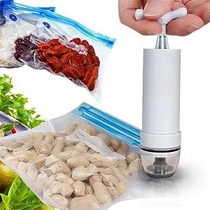 GloryMM Hand Pump Handheld Food Vacuum Sealer Keep Food Saver Longer Practical Food Storage Vacuum Ziplock Bags Tool