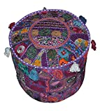 Indian Patchwork Pouf Cover Indian Living Room Pouf, Decorative Ottoman,Embroidered Designer Ottoman, Home Living Footstool Chair Cover, Bohemian Ottoman Pouf Decor 131818 Inch.