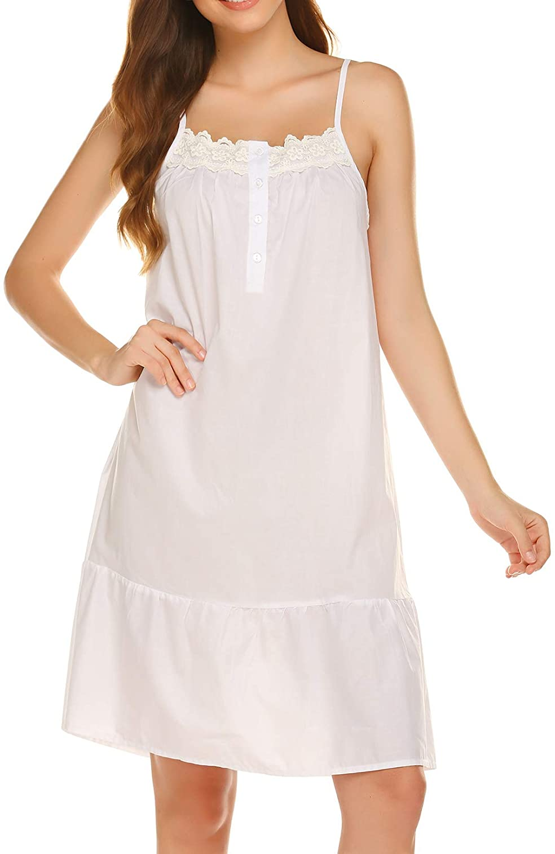 Vintage Nightgowns, Pajamas, Baby Dolls, Robes Ekouaer Sleepwear Sleeveless Nightgown Cotton Sleep Dress Victorian Sleepshirt Strap Gown for Women S-XXL $21.99 AT vintagedancer.com