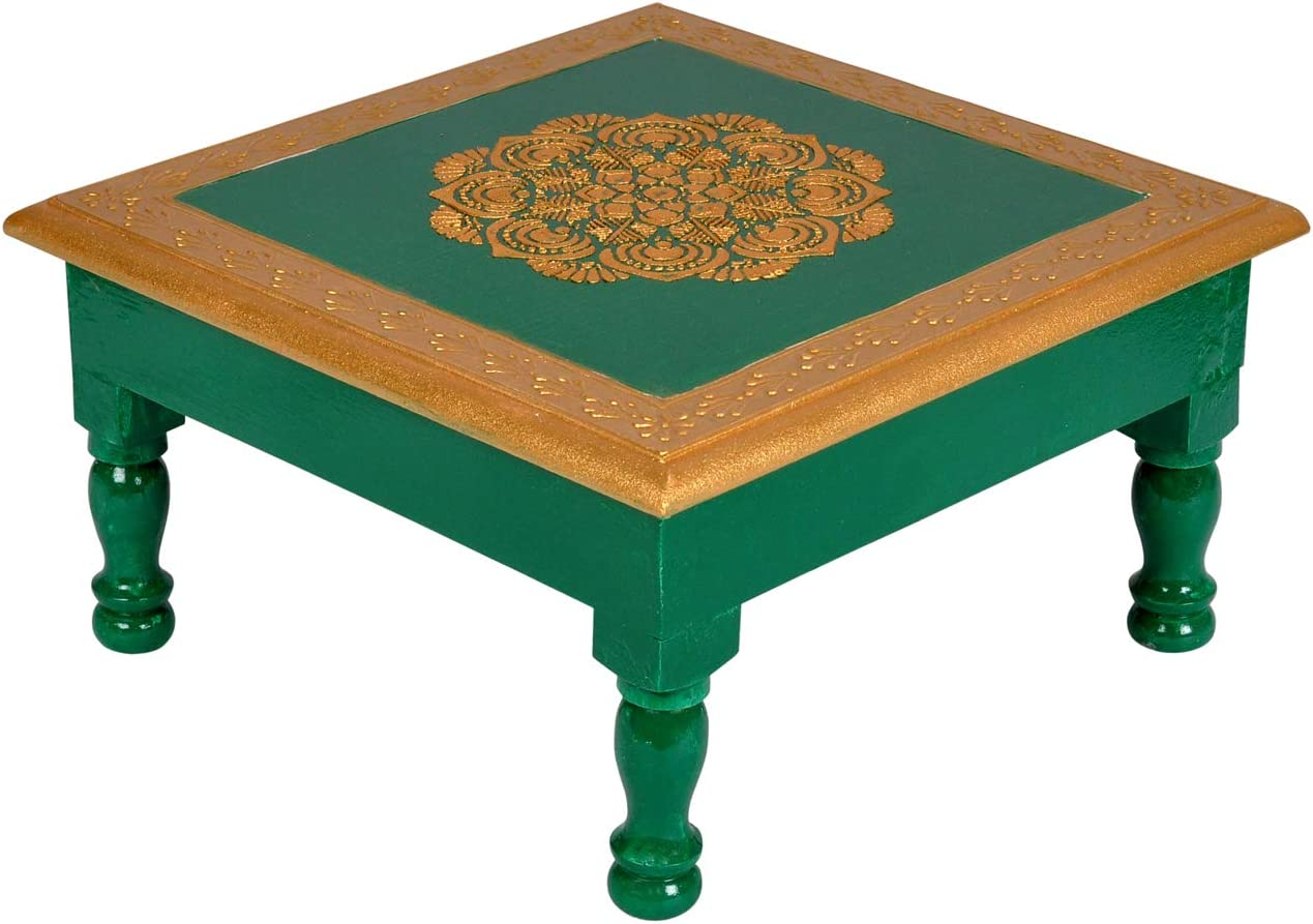 - Lalhaveli Hand Painted Solid Wood Green Accent Small Mini Coffee