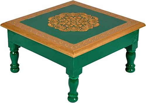 Lalhaveli Designer Solid Wood Hand Painted Accent Small Mini Coffee Table