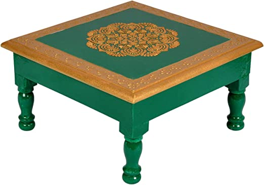 Lalhaveli Hand Painted Solid Wood Green Accent Small Mini Coffee