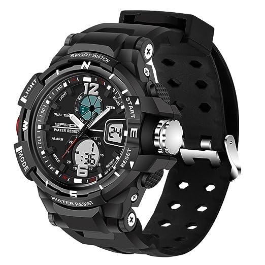 Relojes Deportivos para hombre resistente al agua digital, Domybest Reloj de pulsera de doble huso horario (negro): Amazon.es: Relojes