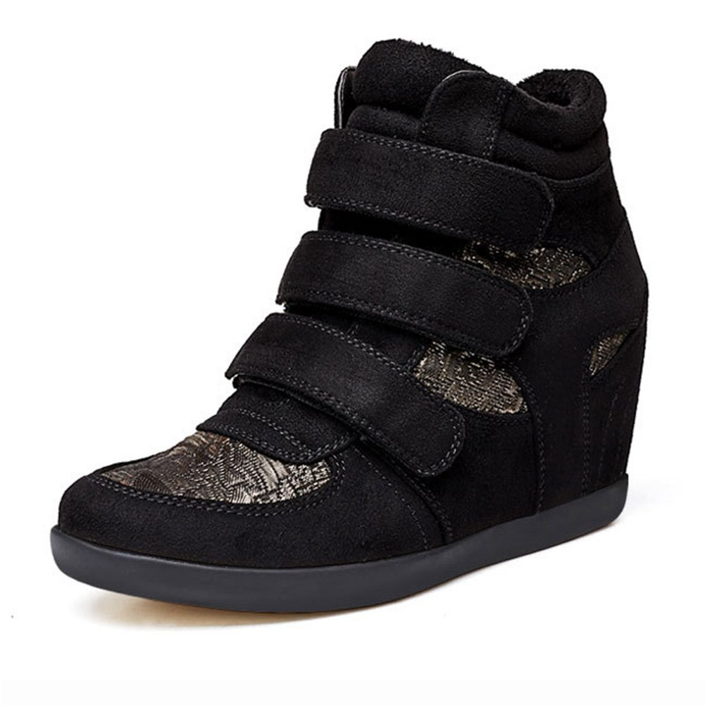 U-MAC High Top Wedge Sneakers For Women's - Anti-Slip Rubber Sole Hidden Heel Round Toe Platform Casual Shoes B078WWJV99 8 B(M) US|Golden Black