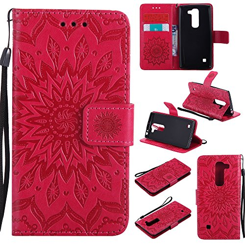 NEXCURIO [Embossed Flower] LG Escape 2 / LG Spirit Wallet Case with Card Holder Folding Kickstand Leather Case Flip Cover for LG Escape 2 (Red)