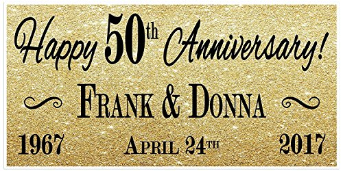 50th Wedding Anniversary Gold Banner Party ()