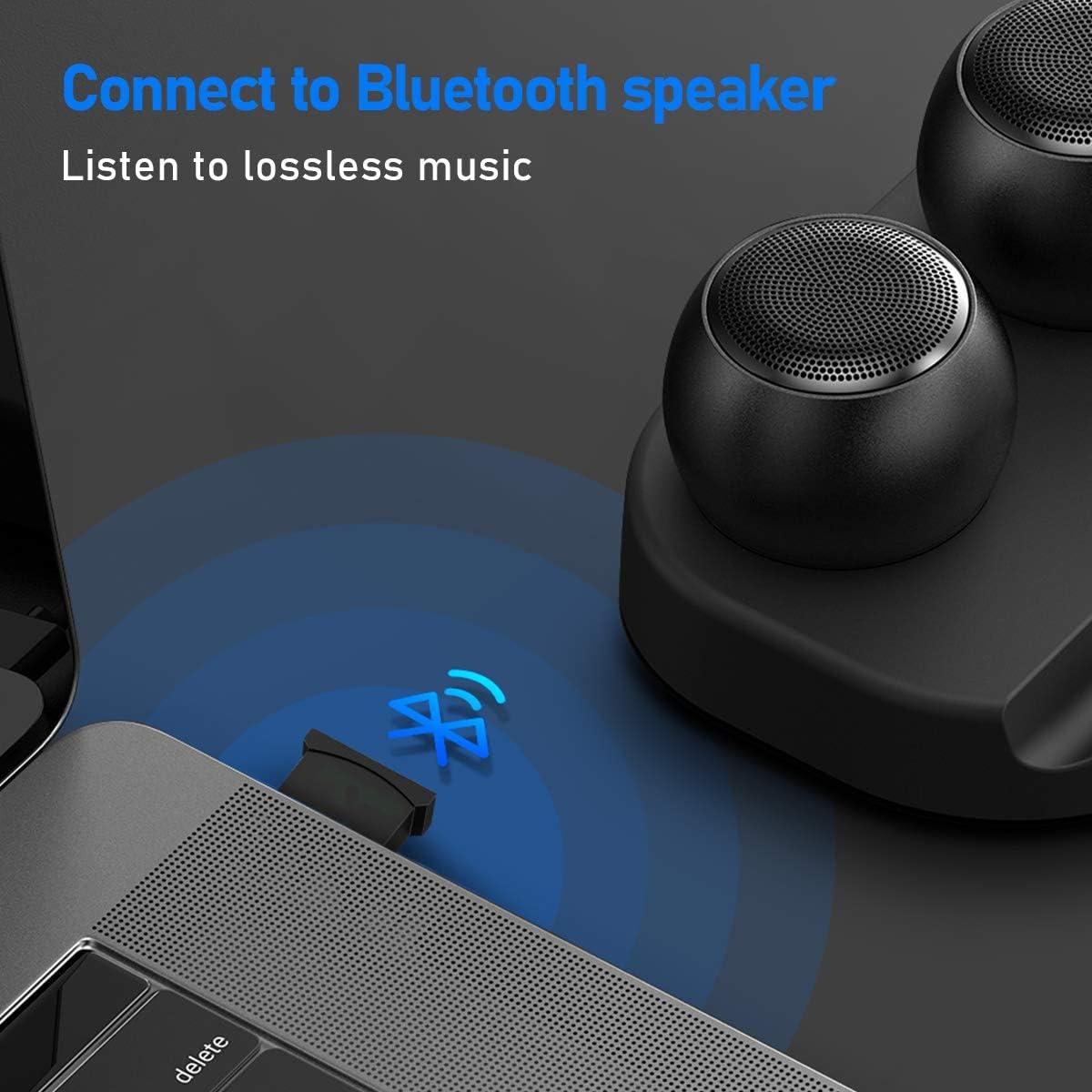 USB 5.0 Bluetooth Adapter Dongle Receiver Drahtloser Sender f/ür Computer Laptop Stereo Kopfh/örer Kompatibel mit Windows 10//8.1//8//7 XP//Vista innOrca Bluetooth Adapter f/ür PC