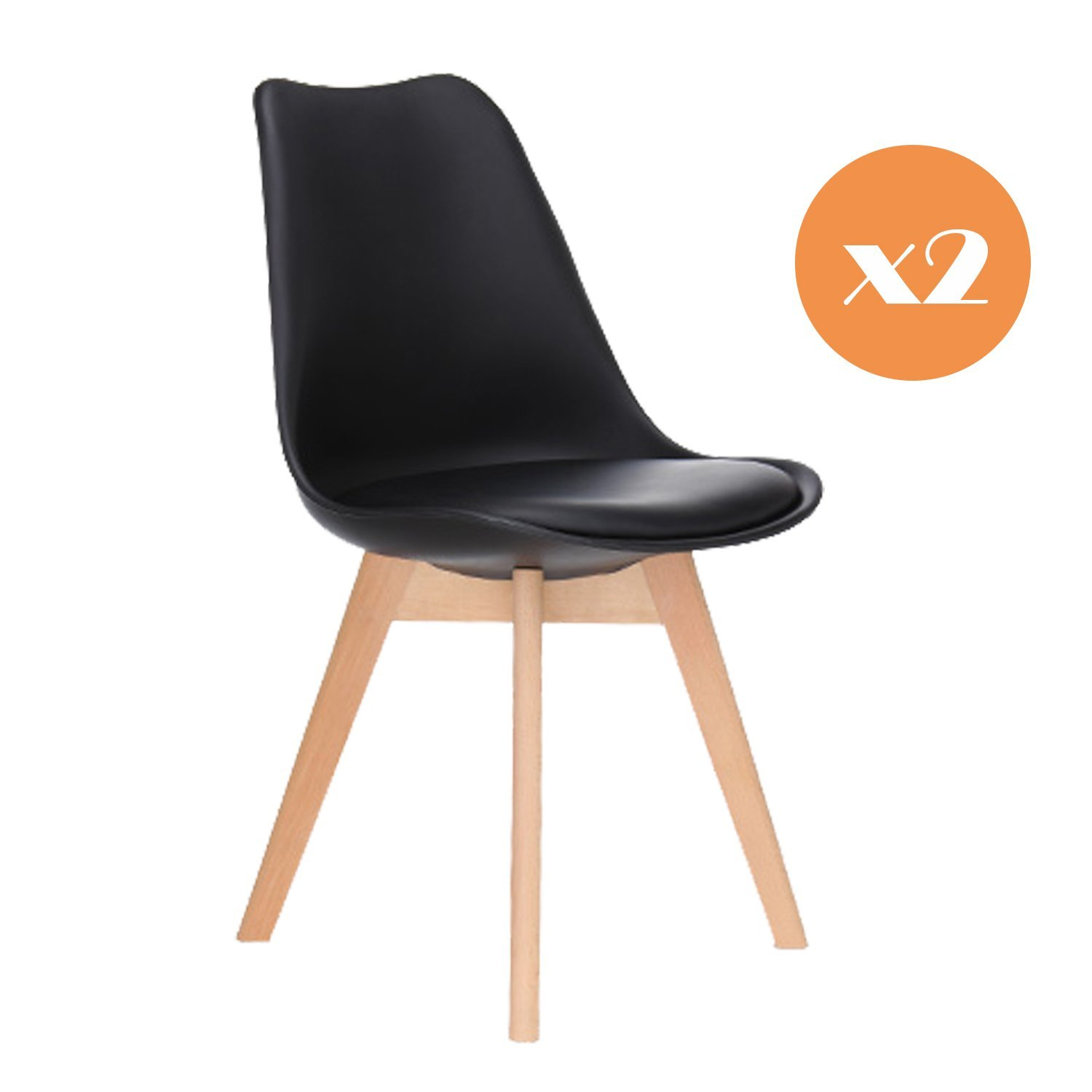 Mmilo Tulip Dining Chair fice chair with Solid wood legs PU