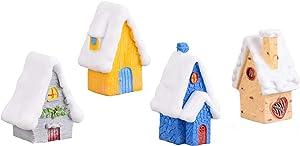 EMiEN 4 PCS Snow Villa House Winter Christmas Miniature Ornament Kits for DIY Fairy Garden Dollhouse Decoration, Christmas Scene Fairy Garden Micro Landscape Accessories Décor Children
