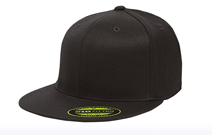 Premium Original Blank Flexfit Flatbill Fitted 210 Hat (XXL, Black)