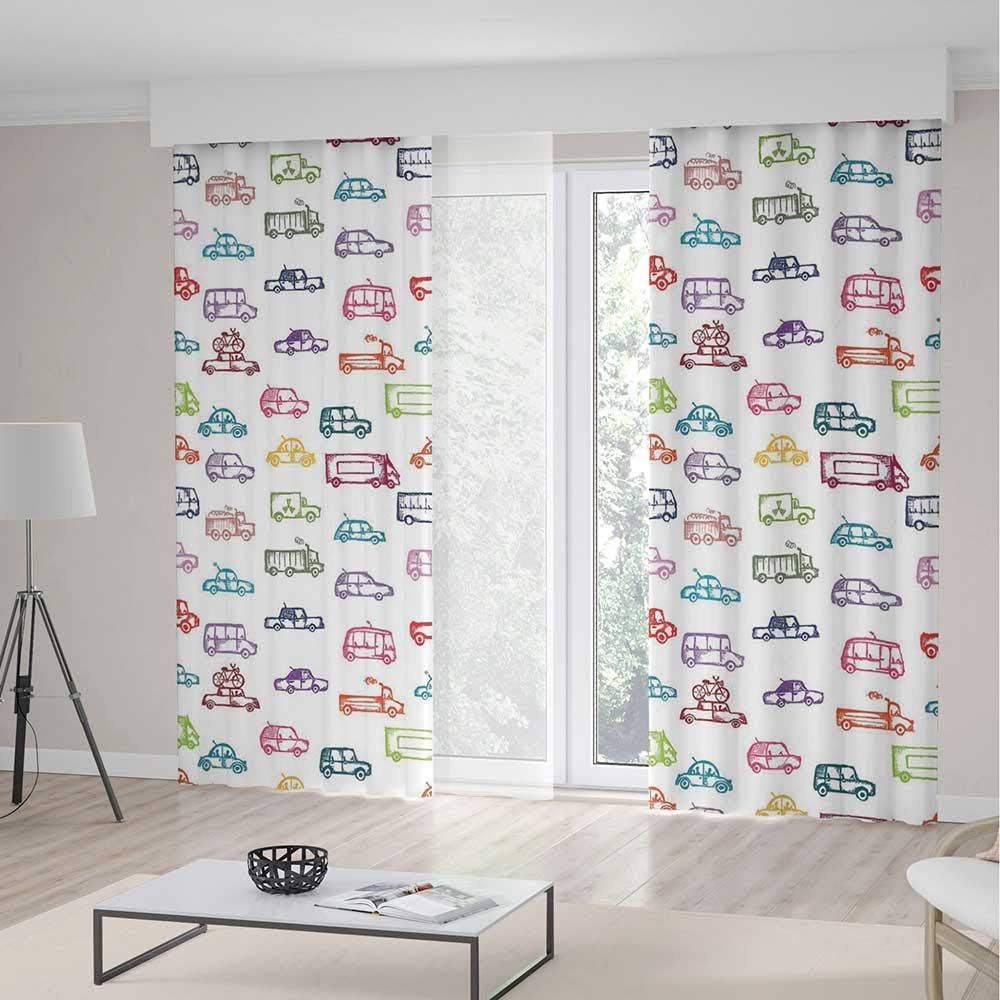 TecBillion Door Curtain,Cars for Living Room,Various Types of Vehicles Bus Truck Garbage Truck Sports Car Vibrant Colored Design,157Wx106L Inches