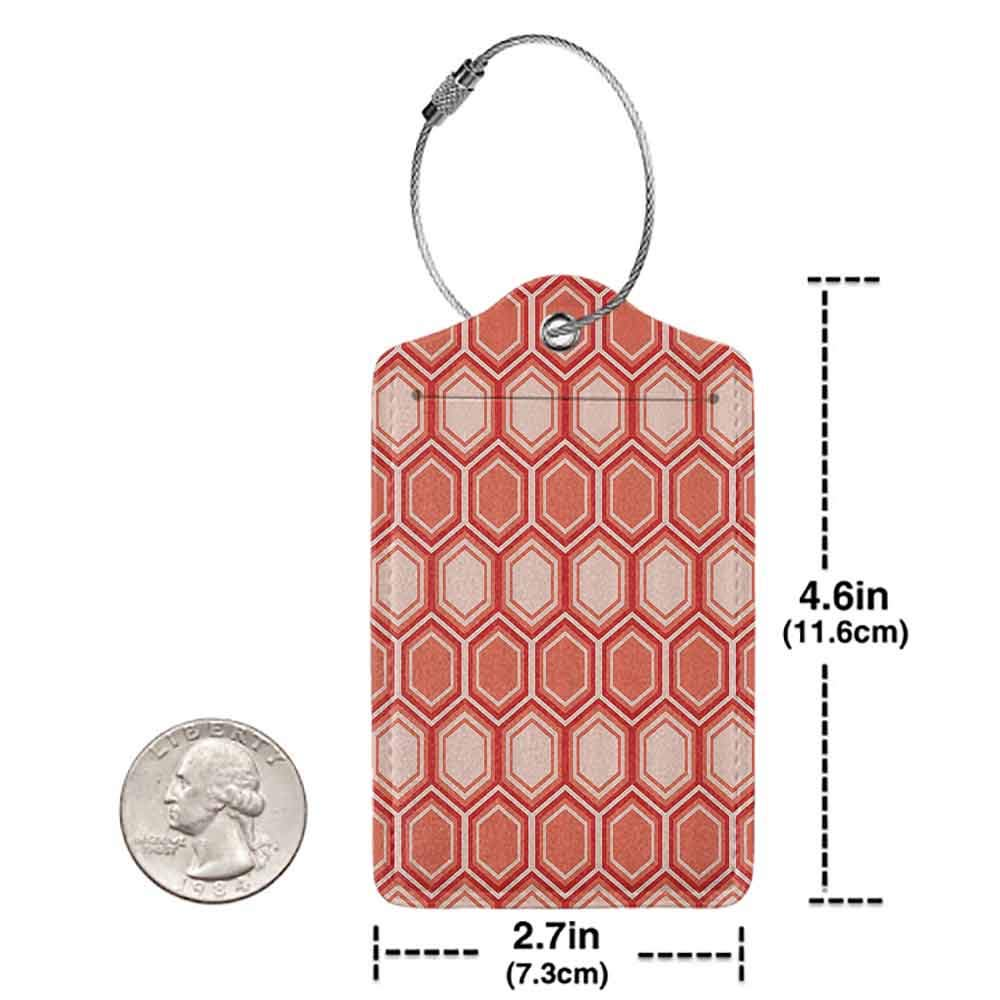 Multicolor luggage tag Retro Hexagonal Comb Pattern Geometrical Tile Graphic Artwork Vintage Design Hanging on the suitcase Peach Coral Dark Coral W2.7 x L4.6