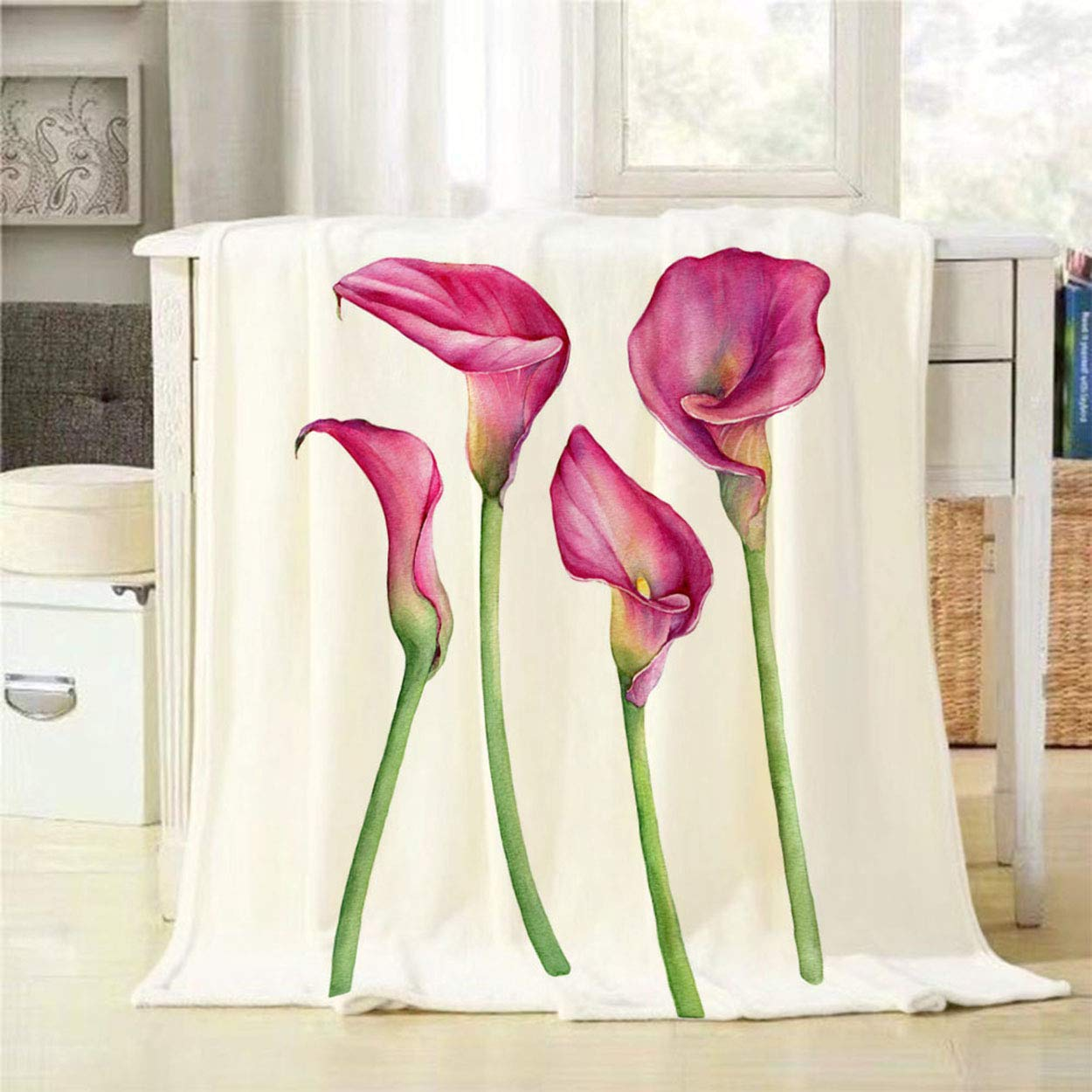 Mugod Throw Blanket Set of Pink Calla Lily Zantedeschia Rehmannii Flower Isolated on a White Decorative Soft Warm Cozy Flannel Plush Throws Blankets for Bedding Sofa Couch 60 X 80 Inch by Mugod