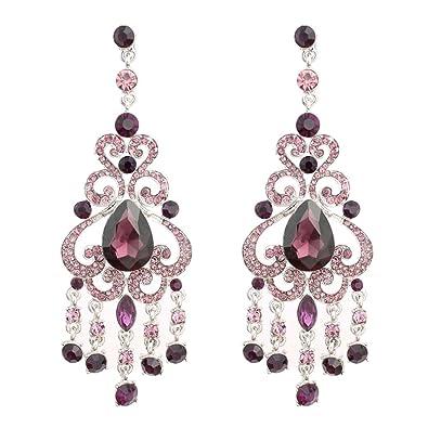 f0e8b08c1 Amazon.com: GSM Accessories Elegant Korean Style Rhinestone Teardrop Alloy  Chandelier Dangle Drop Earrings ER073-Purple: Jewelry