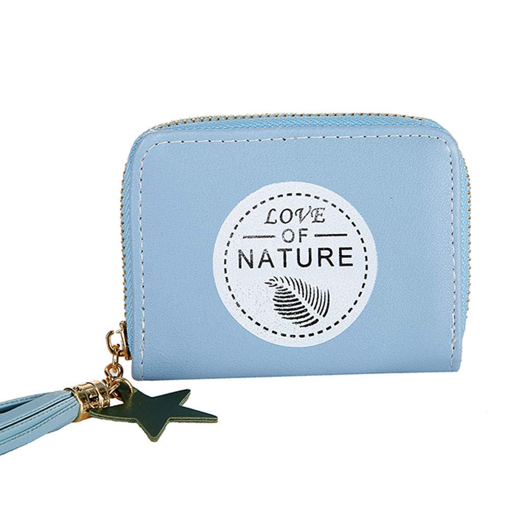 Small Leather Wallet for Women Excellent,Women's Retro Zipper Leather Short Slim Credit Card Holder (Blue)