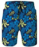 TUONROAD 3D Funny Prints Colorful Short Swim Trunks Blue Pineapple Yellow Leaves Summer Holiday Vintage Novelty Shorts Unique Beach Swimwear Physique Tropical Board Shorts with Mesh Lining Side Pocket
