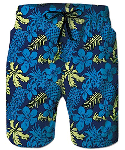 TUONROAD Printing Adult Novelty Swim Trunks Pineapple Green Leaves Blue Hibiscus Flowers Funny Patterned Board Shorts Vintage Boys Bathing Shorts Junior Beach Shorts with Drawstring Elastic Waistband