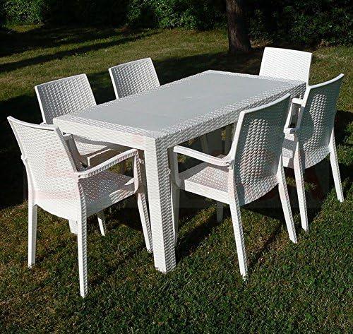 Tavolo In Rattan Bianco.Dimaplast Set Garden Top Bianco Tavolo E 4 Poltrone In Resina