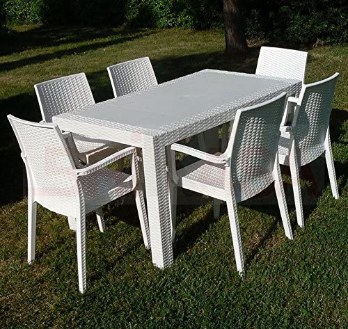 Set Da Giardino In Resina.Dimaplast Set Garden Top Bianco Tavolo E 4 Poltrone In Resina
