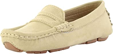 Liobaba Baby Toddler Shoe,Kids Shoes Slip-on Loafers Dress,Boys Girls Shoes Sale Comfortable Suede Leather Light Gray