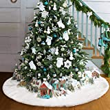 Purewing 30''/35''/48''/60'' Faux Fur Christmas Tree Skirt, Handicraft Snowy White Tree Skirt Christmas Decorations, Tree Plush Skirt Ornaments (60'')