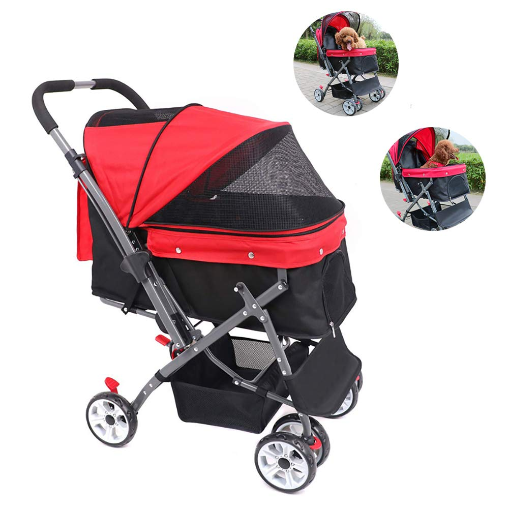 Pet Stroller, Easy One-Hand Fold with Removable Liner, Storage Basket, Mesh Ventilation Pet Gear Happy Trails for Cats Dogs,Red