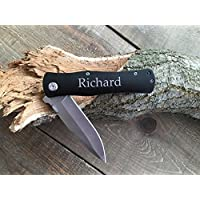 Black Laser-Engraved Folding Knife