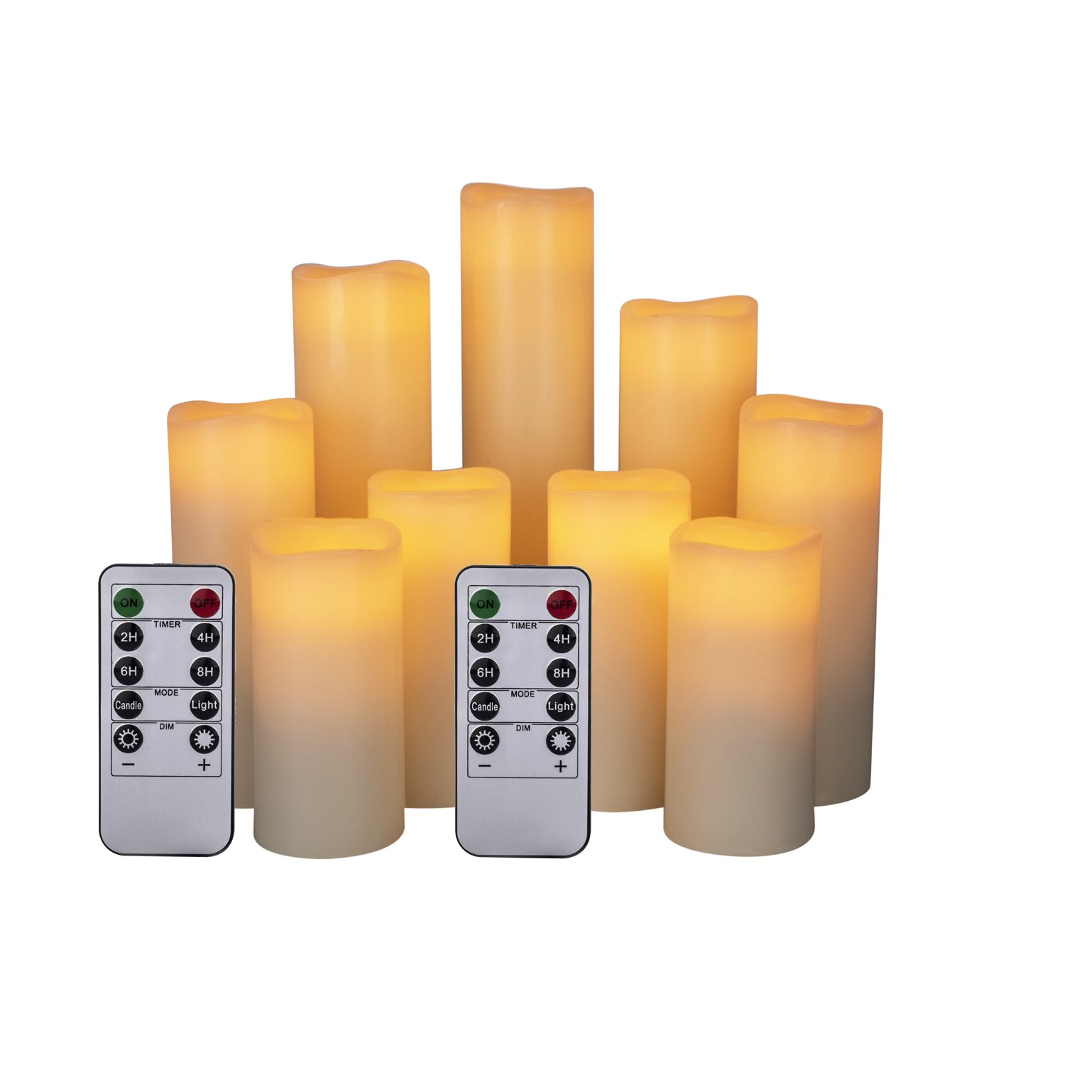 HANZIM Flameless Candles Battery Operated Candles 4'' 5'' 6'' 7'' 8'' 9'' Set of 9 Ivory Real Wax Pillar LED Candles with 10-key Remote and Cycling 24 Hours Timer (9)
