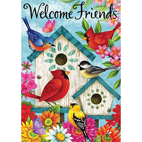 Welcome Friends - Standard Size, Decorative Double Sided, Licensed and Copyrighted Flag - Printed IN USA by Custom Decor Inc. 28 Inch X 40 Inch approx.