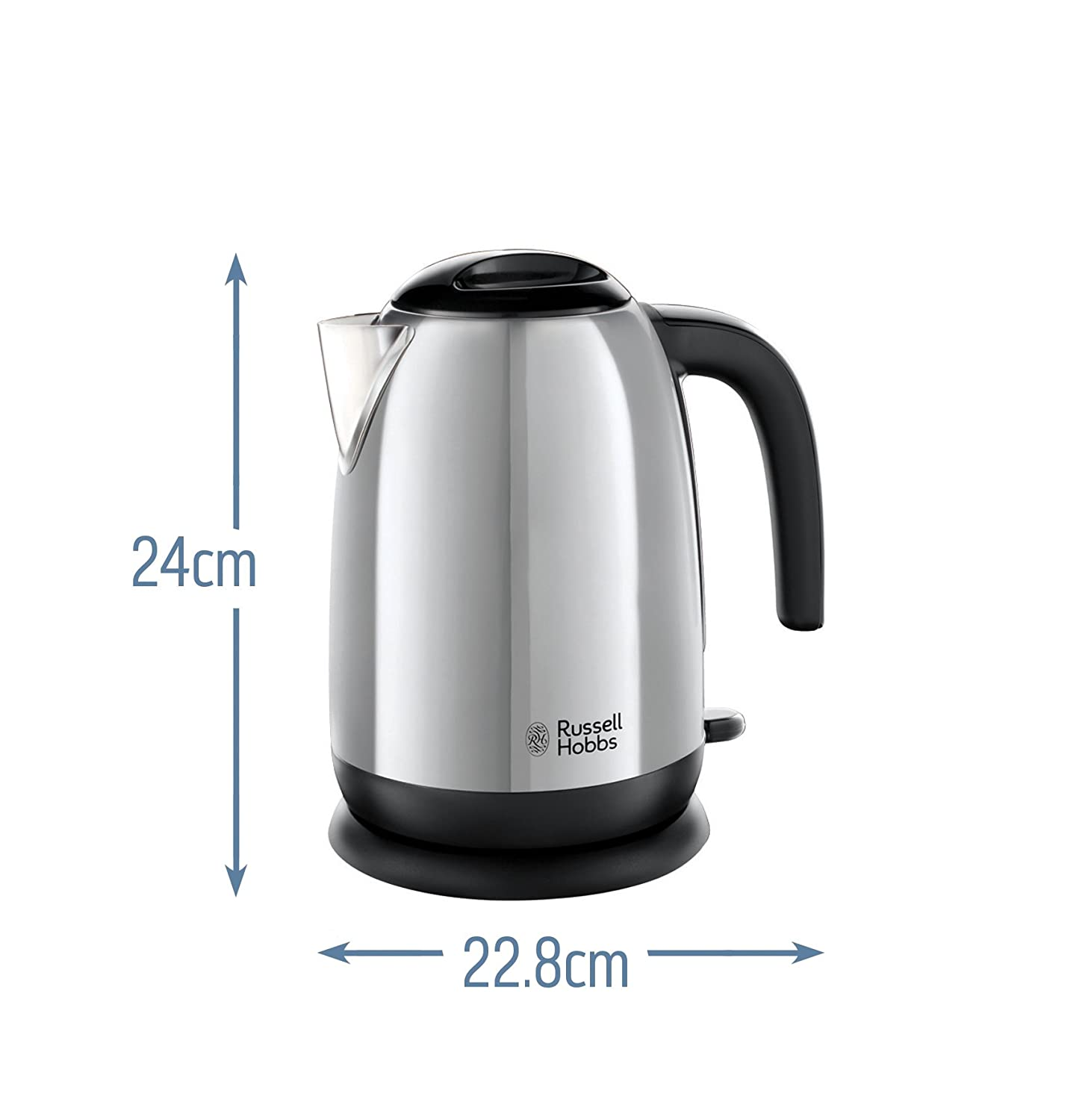1.7 Litre 3000 W Russell Hobbs 23911 Adventure Polished Stainless Steel Electric Kettle Open Handle