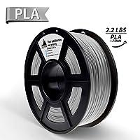 3D Hero 3D Printer Filament Silver PLA, Dimensional Accuracy +/- 0.02 mm,1.75 mm 1 kg Spool(2.2lbs)