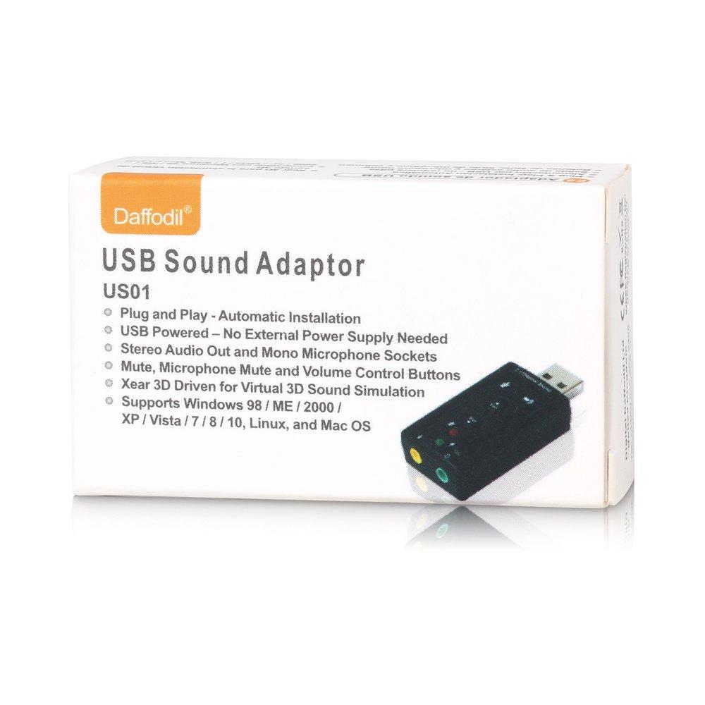 Daffodil US01 Tarjeta de Sonido USB 7.1 / Plug and Play / Entrada de micrófono (Mic) y Salida 3.5mm - Compatible Windows 10, 8, 7 XP / Vista DDL US01