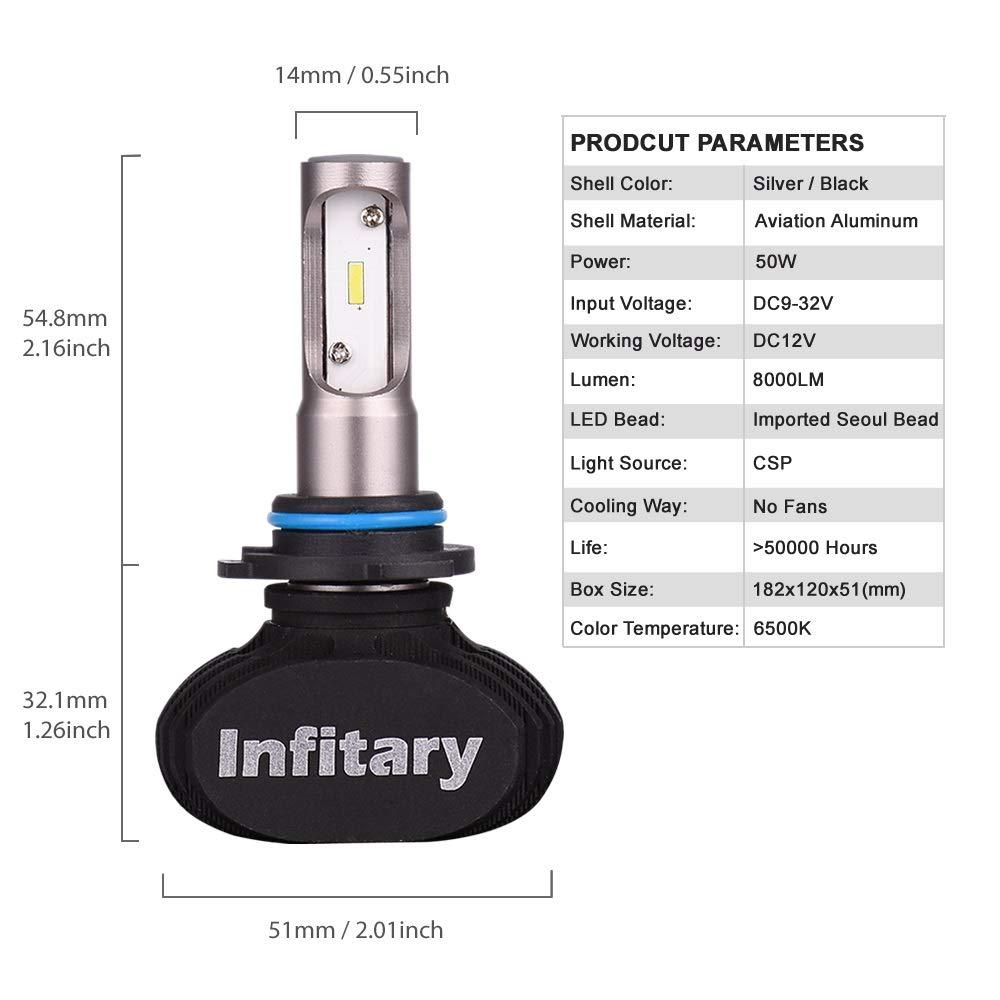 INFITARY-Headlamp 9005 HB3 LED COB Chips 64W 6500K 8000LM Single Beam IP67 Waterproof 1 Pair