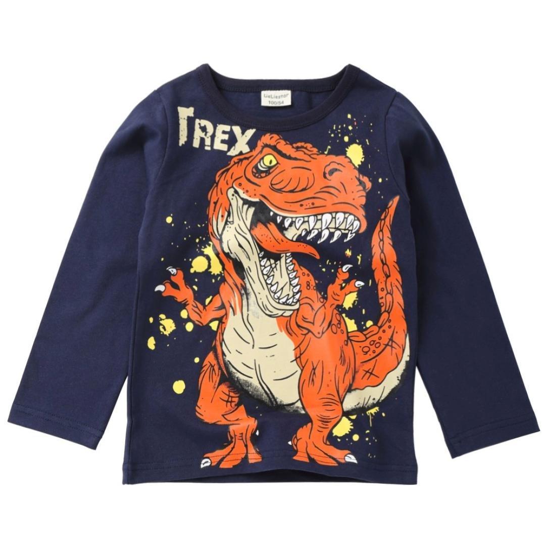 Pollyhb Baby Boy T-Shirt, Toddler Kids Clothes Short Sleeve Tyrannosaurus rex Dinosaur Print Tops Blouse(1-6 Years) (4-5 Years, Dark Blue)