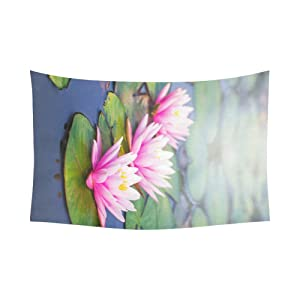 Unique Debora Custom Wall Tapestry Beauty Water Lilly Flower 60x51 Inch Cotton Linen Tapestry Wall Hanging Art WD-26