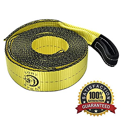 The Original Toby Strap - Heavy Duty Polyester Emergency Towing Rope Tow Strap Recovery Strap With Reinforced Loops By Kitty Group Automotive – 30 Ft. Long With 30,000 Lbs Breaking - Tow Rope Hook